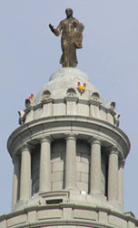 Missouri capitol cupola and statue